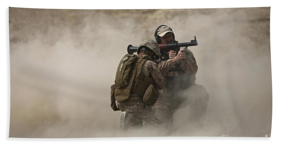 Afghanistan Beach Towel featuring the photograph A U.s. Contractor Fires by Terry Moore