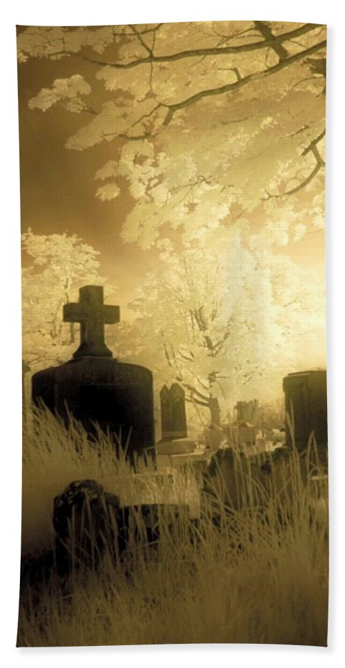 Graveyard Beach Towel featuring the photograph Abandoned And Overgrown Cemetery by Gothicrow Images