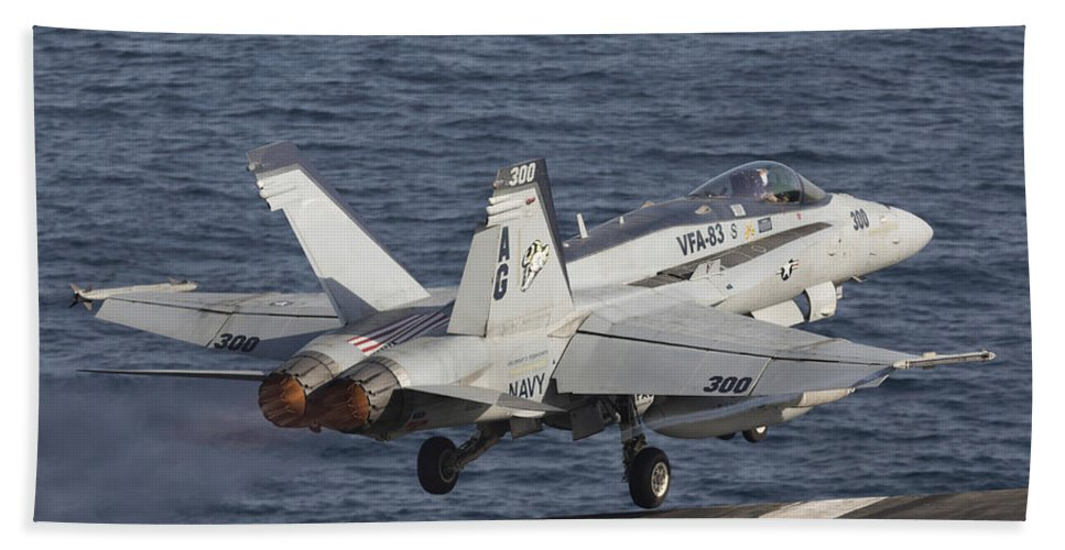 Arabian Sea Beach Towel featuring the photograph An Fa-18c Hornet Taking by Gert Kromhout