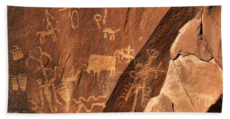 Anasazi Beach Towel featuring the photograph Ancient Indian Petroglyphs by Gary Whitton