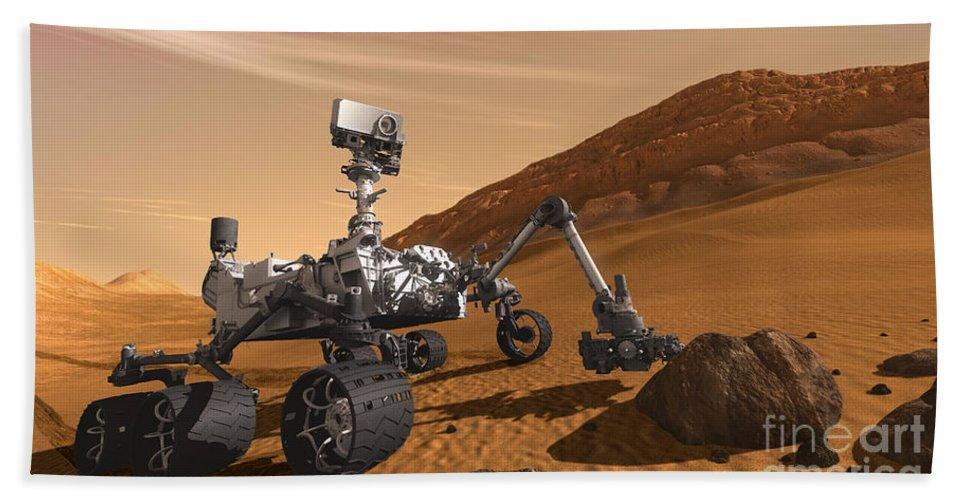 Mars Science Laboratory Beach Towel featuring the digital art Artist Concept Of Nasas Mars Science by Stocktrek Images