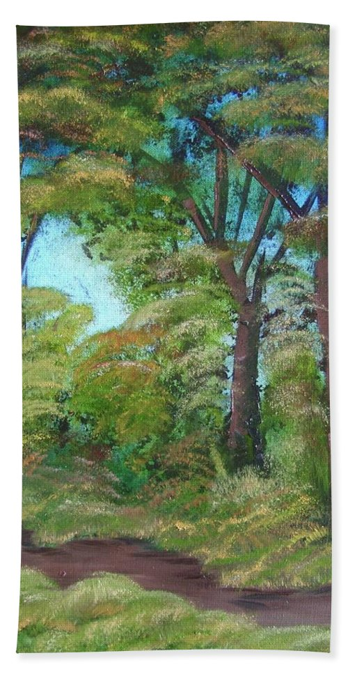 Autumn Beach Towel featuring the painting Autumn Evening by Charles and Melisa Morrison