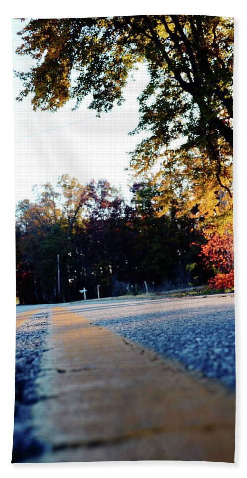 Road Beach Towel featuring the photograph Autumn Road by La Dolce Vita