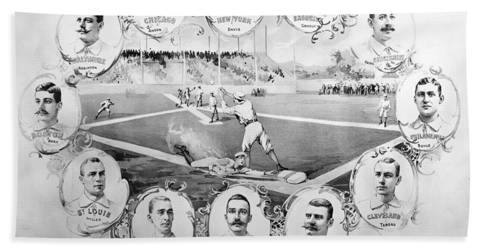 1895 Beach Towel featuring the photograph Baseball, 1895 by Granger