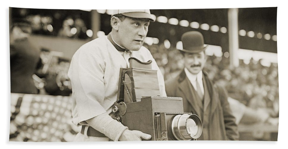 1911 Beach Towel featuring the photograph Baseball: Camera, C1911 by Granger