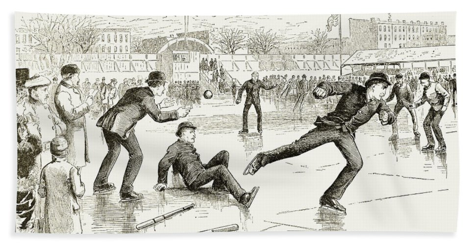 1884 Beach Towel featuring the photograph Baseball On Ice, 1884 by Granger