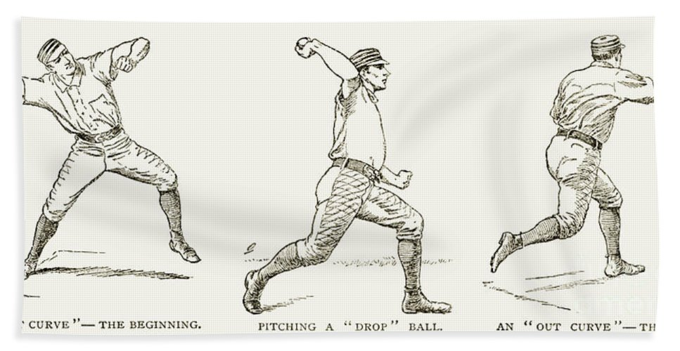 1889 Beach Towel featuring the photograph Baseball Pitching, 1889 by Granger