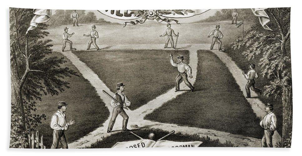 1867 Beach Towel featuring the photograph Baseball Polka, 1867 by Granger