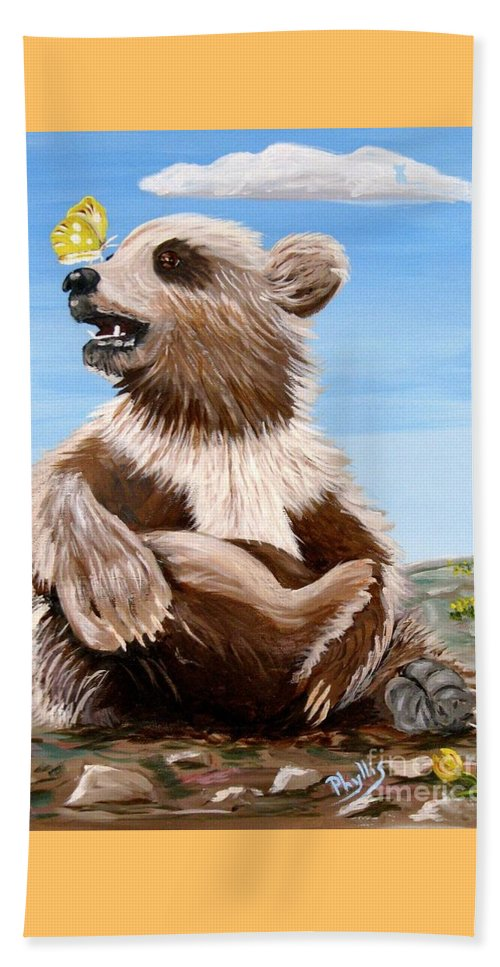 Baby Bear Beach Towel featuring the painting Ben Bear And Butterfly by Phyllis Kaltenbach