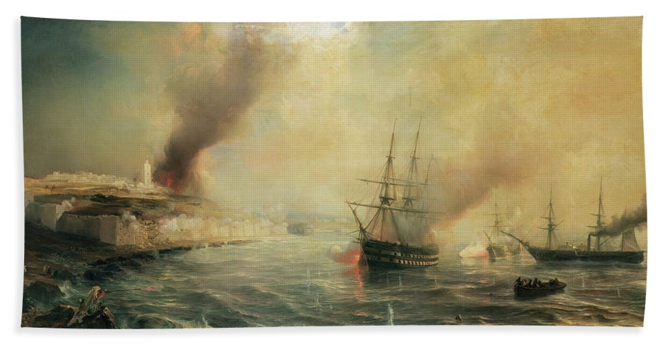 Bombardment Of Sale Beach Towel featuring the painting Bombardment Of Sale by Jean Antoine Theodore Gudin