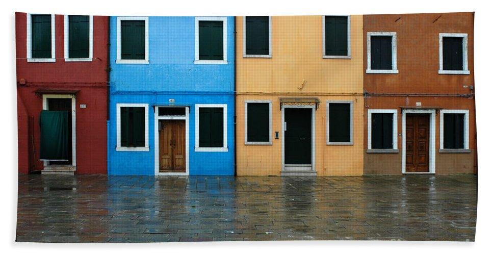 Burano Beach Towel featuring the photograph Burano Italy 1 by Mike Nellums