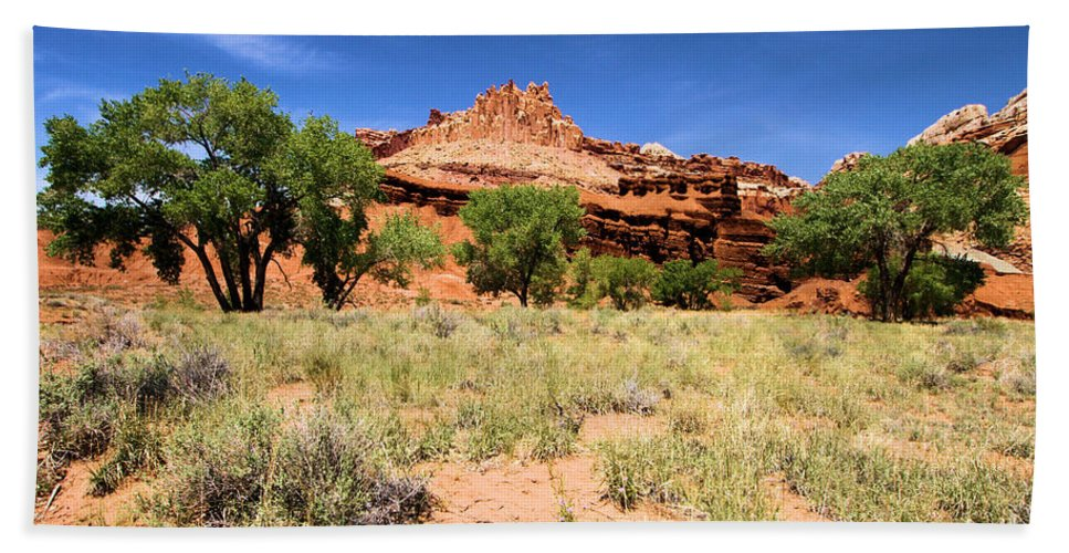 Capitol Reef National Park Beach Towel featuring the photograph Capitol Reef Castle by Adam Jewell