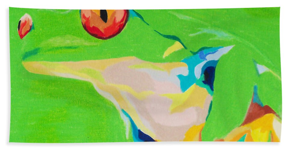 Frog Beach Towel featuring the painting Catch A Red Eye by Steve Teets