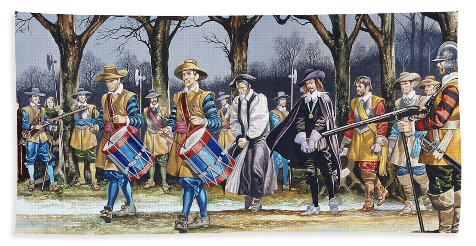 Martyr; Stuart; Monarch; Divine Right; Tree; Drum; Drummer; Musket; Gun; Uniform; Soldier; English Civil War Beach Towel featuring the painting Charles I's Last Walk by Ron Embleton