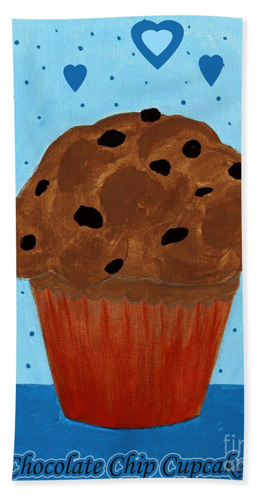 Chocolate Beach Towel featuring the painting Chocolate Chip Cupcake by Barbara Griffin