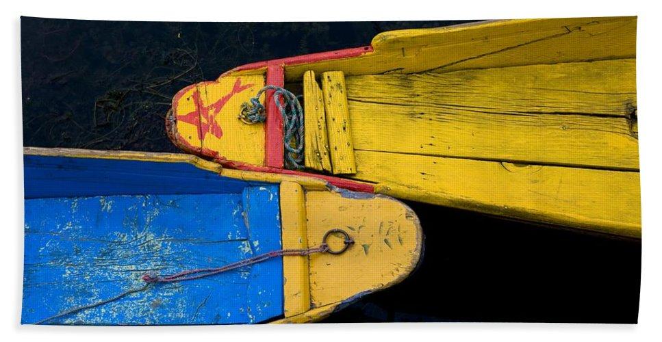 Boat Beach Towel featuring the photograph Colorful Boats, Srinagar, Dal Lake by David DuChemin