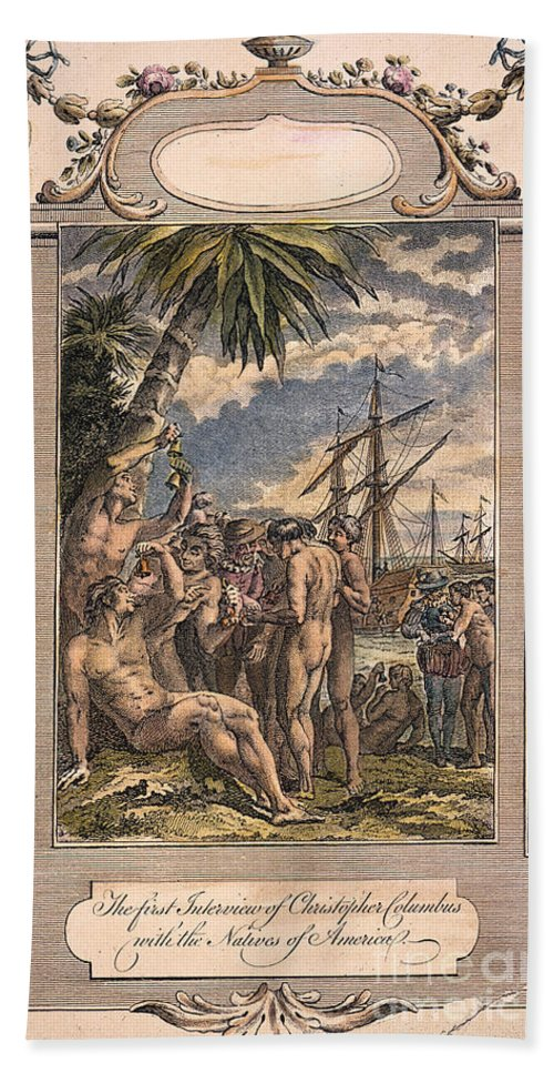 1492 Beach Towel featuring the photograph Columbus: Native Americans by Granger
