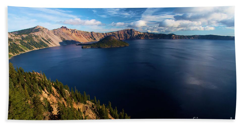 Crater Lake National Park Beach Towel featuring the photograph Crater Lake Blues by Adam Jewell