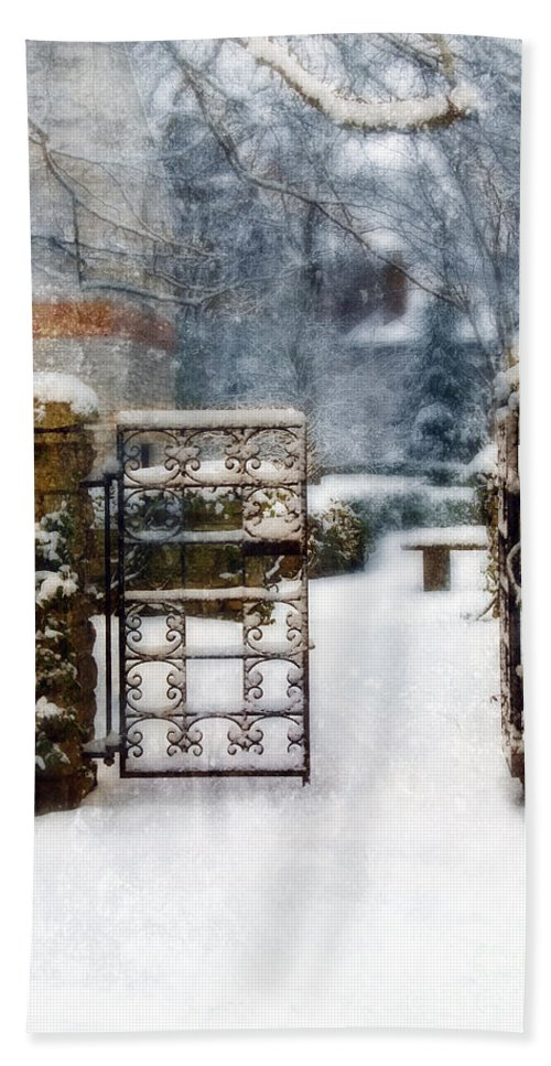 Home Beach Towel featuring the photograph Decorative Iron Gate In Winter by Jill Battaglia