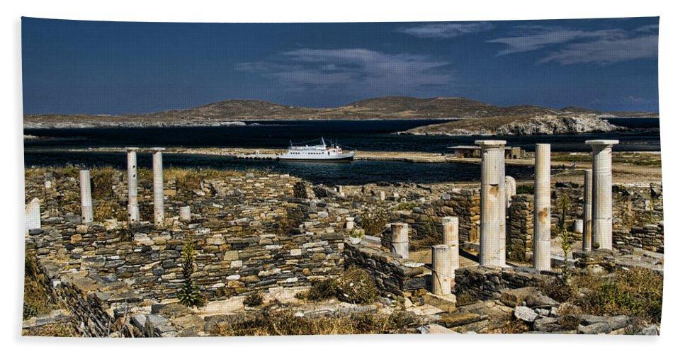 Delos Beach Towel featuring the photograph Delos Island by David Smith