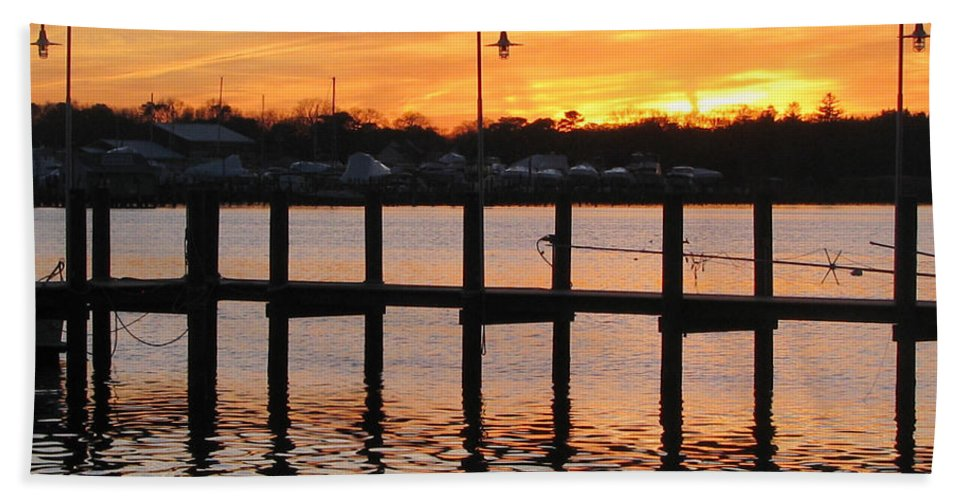 Dock Beach Towel featuring the photograph Dock Sunset by Clara Sue Beym