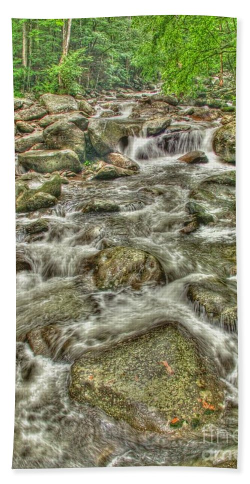 Stream Beach Towel featuring the photograph Downhill Rush by Myrna Bradshaw
