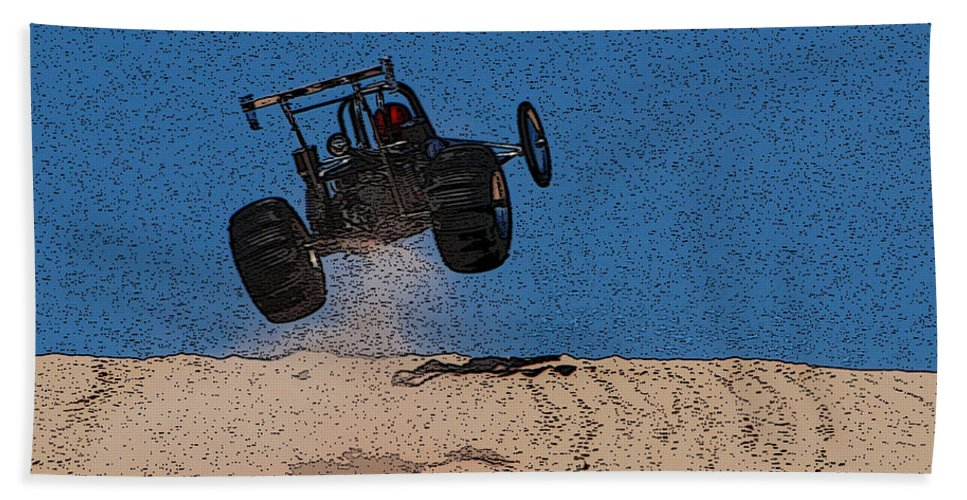 Silver Lake Sand Dunes Beach Towel featuring the photograph Dune Buggy Jump by Grace Grogan