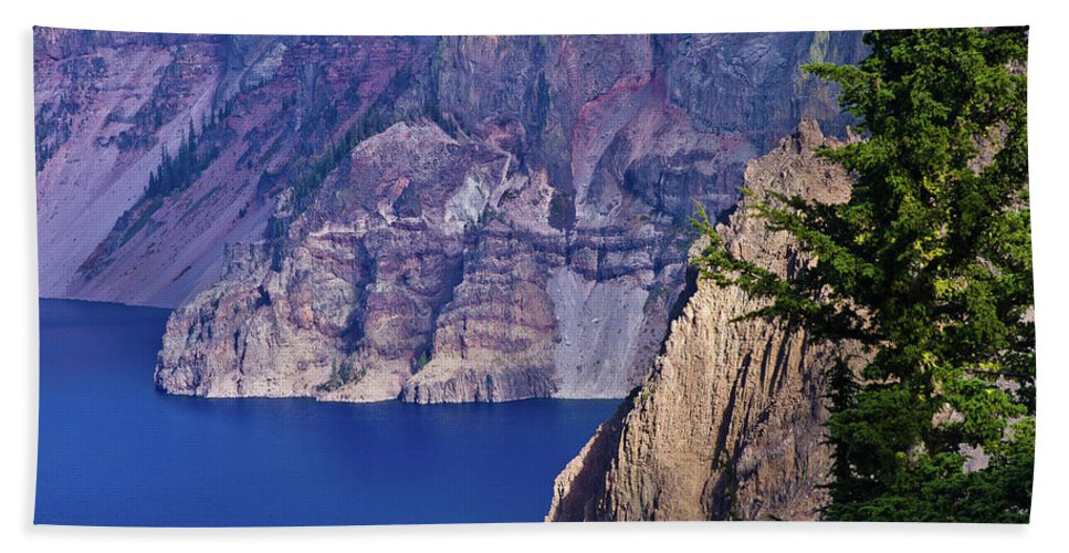 Beach Towel featuring the photograph East Rim Of Crater Lake by Greg Nyquist