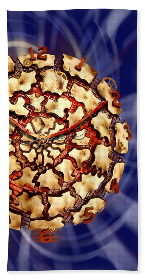 Wood Working Beach Towel featuring the photograph Exploding Clock by Mike McGlothlen