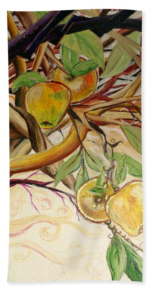 Apple Beach Sheet featuring the painting Fifth World Two by Kate Fortin