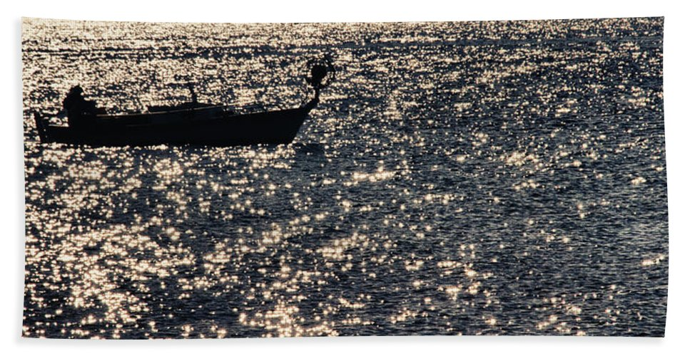 Sunset Beach Towel featuring the photograph Fisherman by Stelios Kleanthous