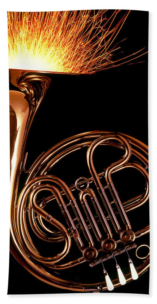 French Beach Towel featuring the photograph French Horn With Sparks by Garry Gay