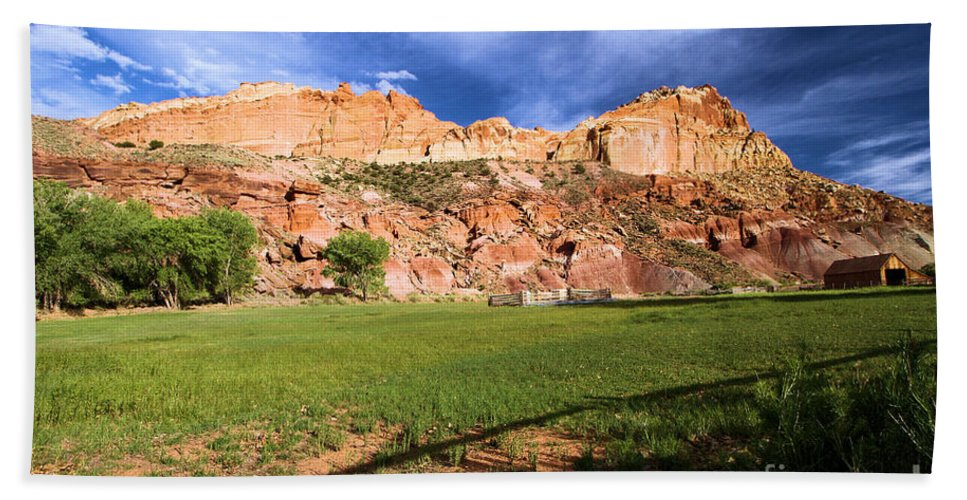 Capitol Reef National Park Beach Towel featuring the photograph Fruita Historic District by Adam Jewell