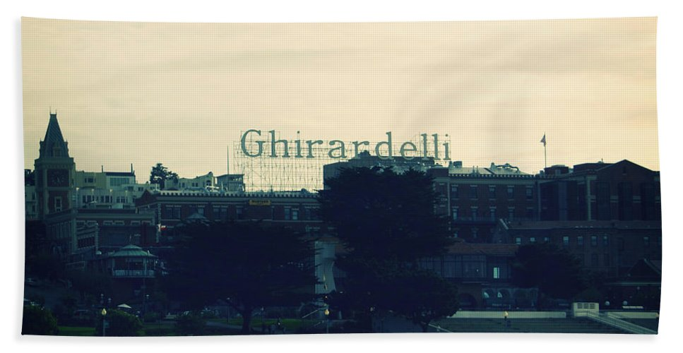 Ghirardelli Square Beach Towel featuring the photograph Ghirardelli Square by Linda Woods