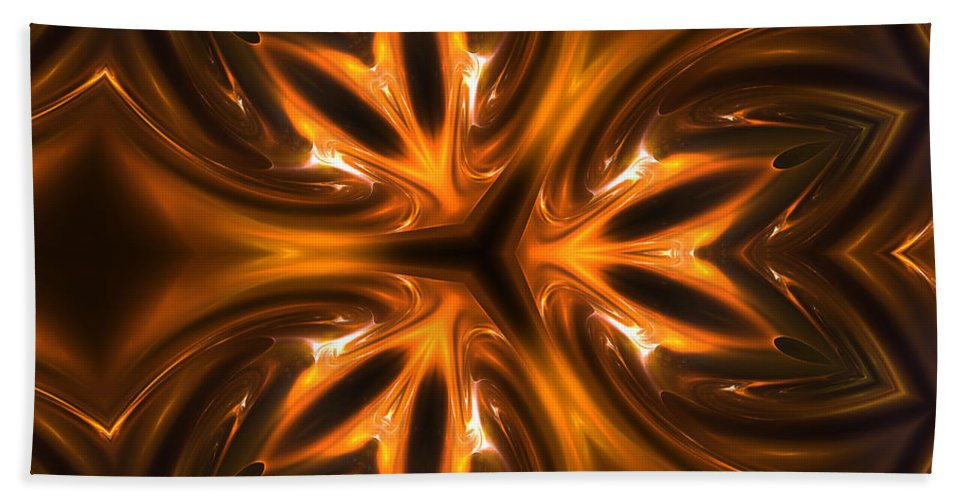 Gold Golden Metal Times Fractal Digital Art Painting Expressionism Abstract Beach Towel featuring the digital art Golden Times by Steve K