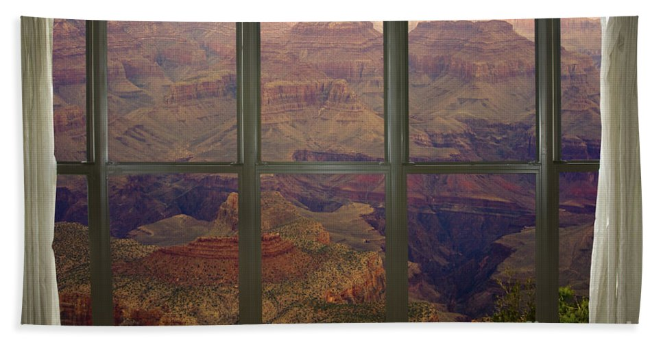 'window Canvas Wraps' Beach Towel featuring the photograph Grand Canyon Springtime Bay Window View by James BO Insogna