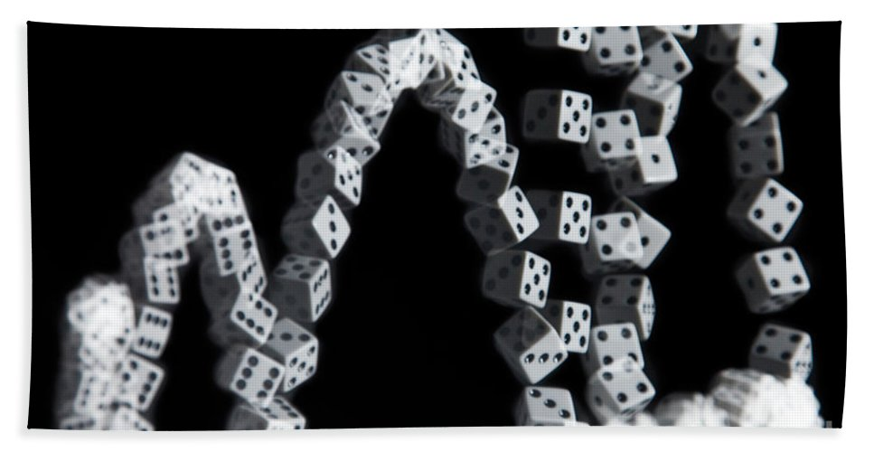 Roll Beach Towel featuring the photograph Hand Rolling Dice by Ted Kinsman