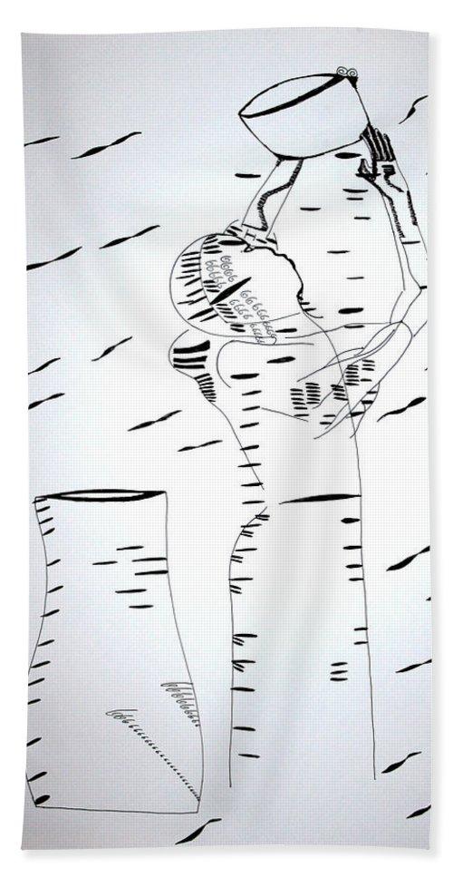 Jesus Beach Towel featuring the drawing Hausa Dance - Nigeria by Gloria Ssali