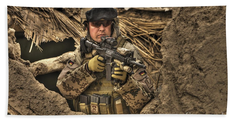 Operation Enduring Freedom Beach Towel featuring the photograph Hdr Image Of A German Army Soldier by Terry Moore