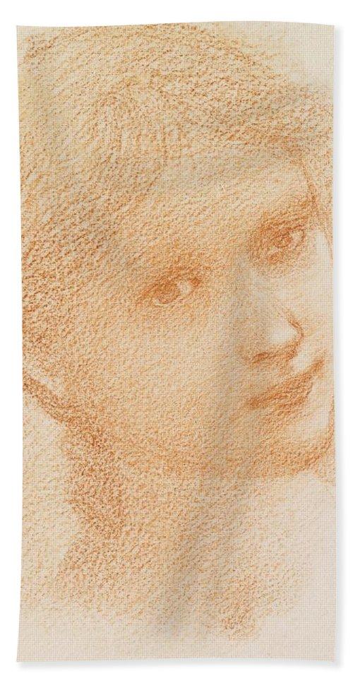 Head Study Of A Girl Beach Towel featuring the drawing Head Study Of A Girl by Sir Edward Burne-Jones