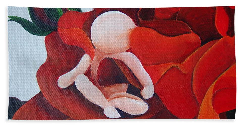 Healing Painting Beach Towel featuring the painting Healing Painting Baby Sitting In A Rose Detail by Catt Kyriacou