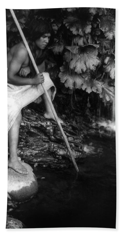 1923 Beach Towel featuring the photograph Hupa Fisherman, C1923 by Granger