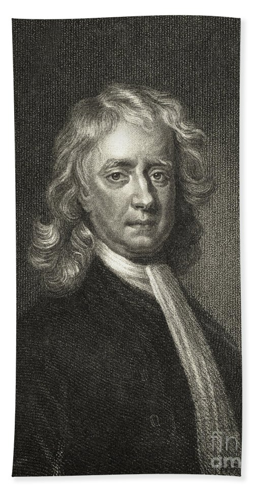 Science Beach Towel featuring the photograph Isaac Newton, English Polymath by Science Source
