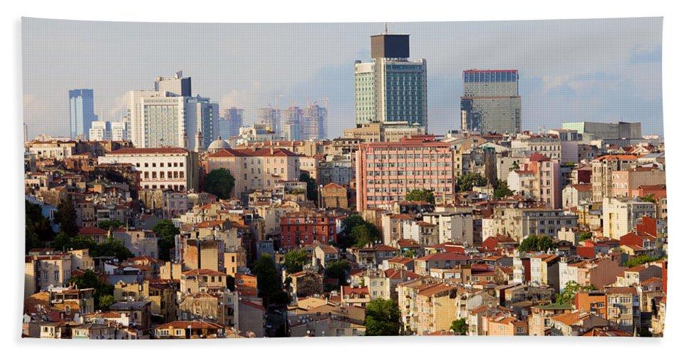 Historic Beach Towel featuring the photograph Istanbul Cityscape by Artur Bogacki