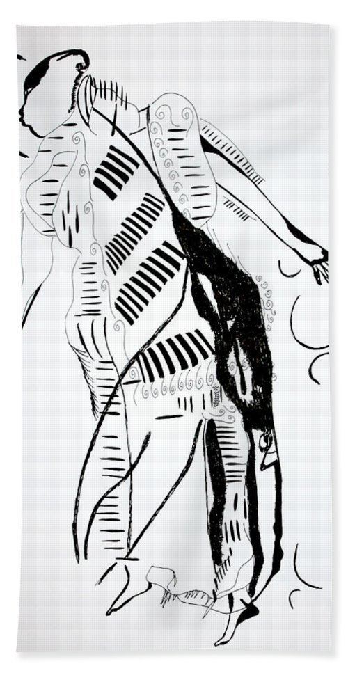 Jesus Beach Towel featuring the drawing Ivory Coast Dance by Gloria Ssali