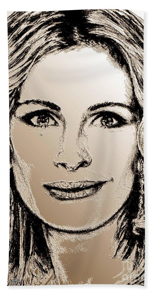 Julia Roberts Beach Towel featuring the digital art Julia Roberts In 2008 by J McCombie