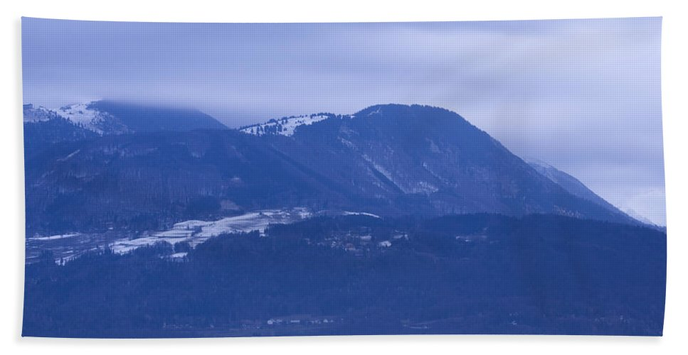 Krvavec Beach Towel featuring the photograph Krvavec And The Kamnik Alps At Dawn by Ian Middleton