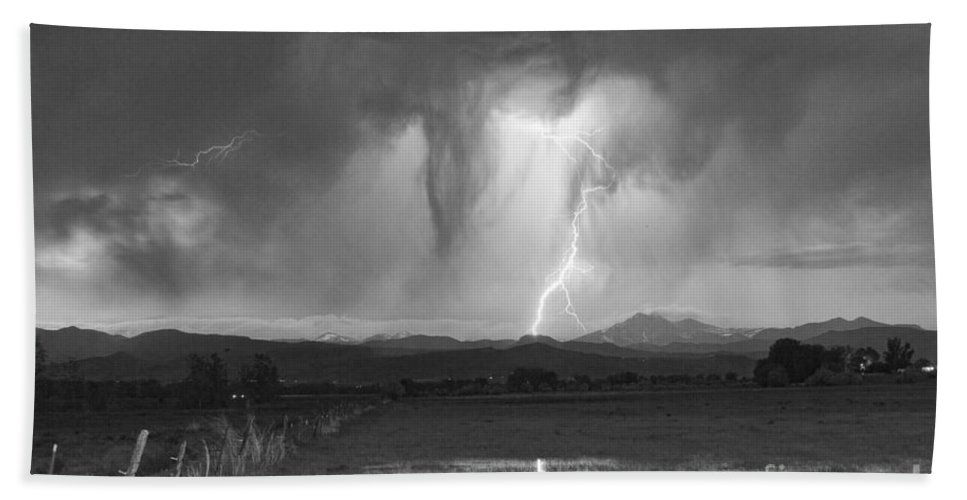 'boulder County' Beach Towel featuring the photograph Lightning Striking Longs Peak Foothills 3 by James BO Insogna