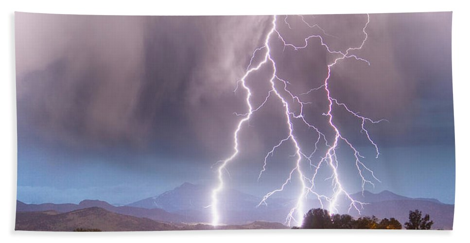 Awesome Beach Towel featuring the photograph Lightning Striking Longs Peak Foothills 6 by James BO Insogna