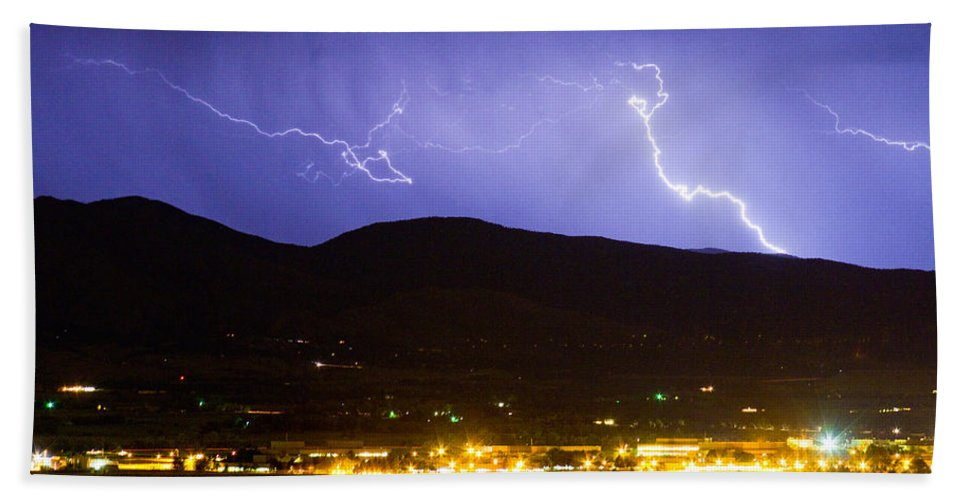 decorative Canvas Prints Beach Towel featuring the photograph Lightning Striking Over Ibm Boulder Co 2 by James BO Insogna
